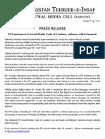 Press Release - PTI Social Media Code of Conduct