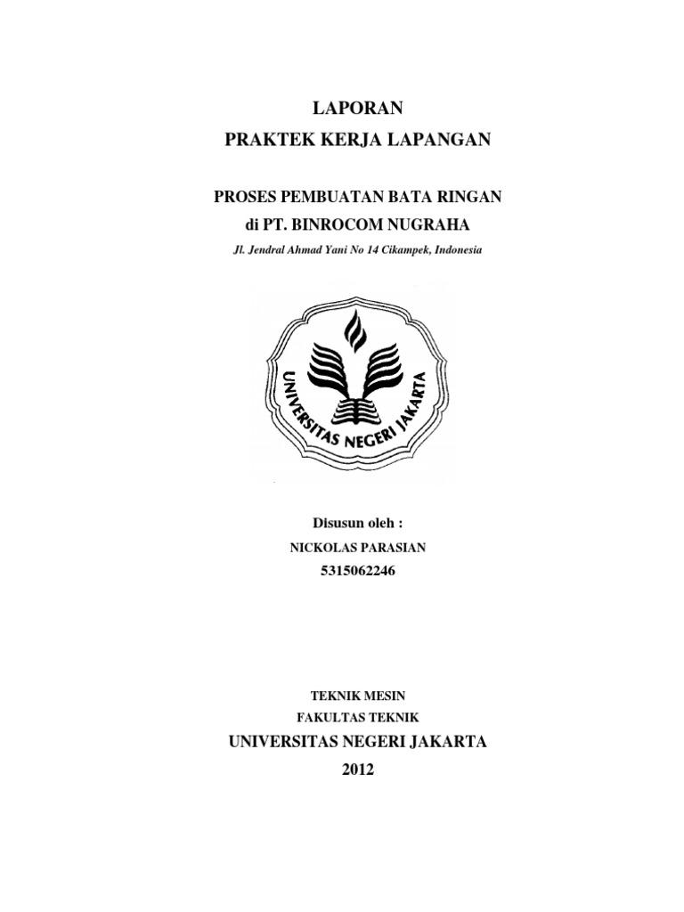 Contoh Laporan Pkl Mahasiswa Teknik Mesin Pdf Kumpulan Contoh Laporan