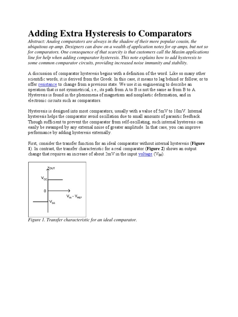 Hysteresis To Comparators Operational Amplifier Electrical Circuits Comparator With Design Tool