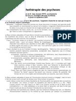 La psychothérapie des psychoses  (Conférence publique)