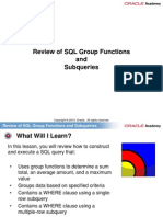 4. Review of SQL Group Functions and Subqueries