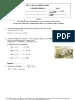 Matemática - 9º ano -2ªficha de Jan 09