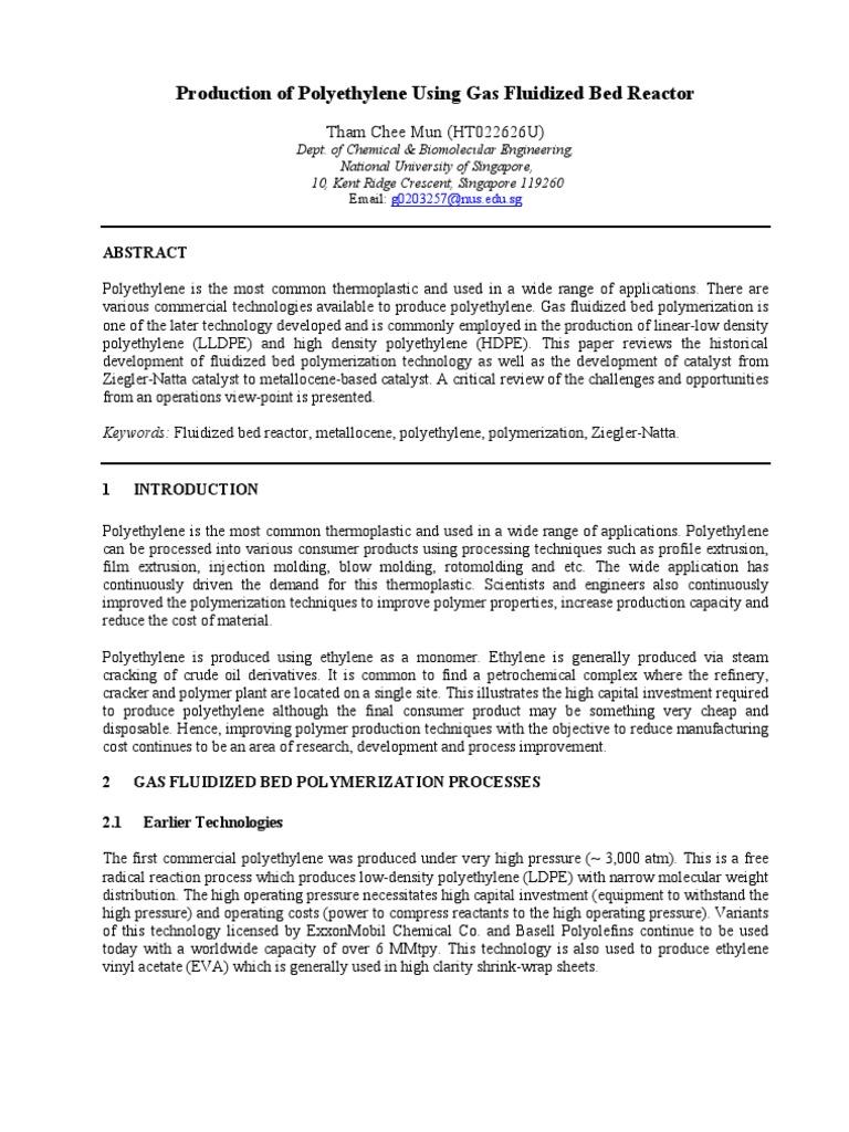 Fluidized Bed Reactor | Polyethylene | Fluidization