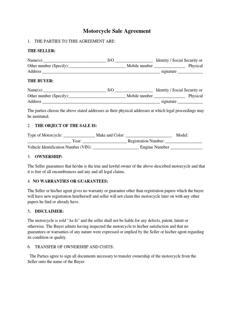 agreement paper motorcycle sales