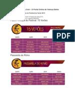 Grade de Programação do Festival de Verão 2013 - EmValença