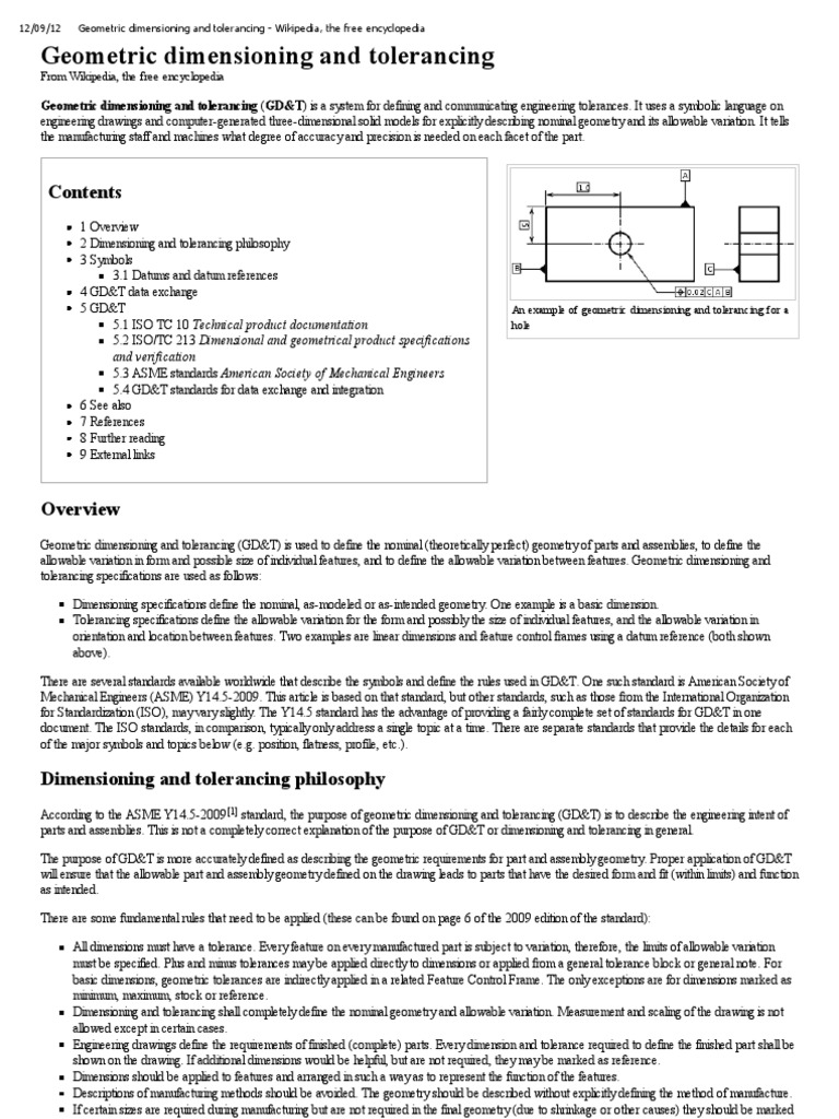 Geometric Dimensioning And Tolerancing Wikipedia The Free