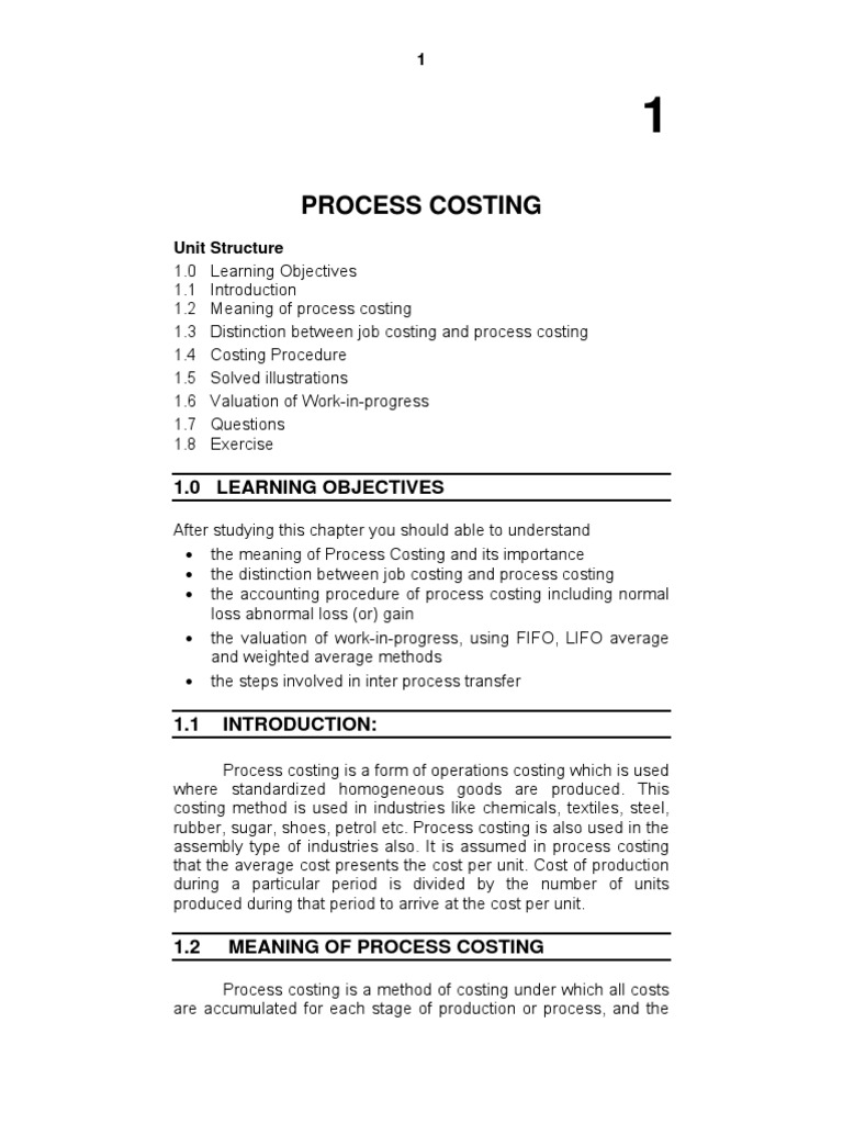 importance of process costing