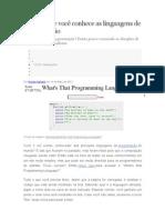 Descubra se você conhece as linguagens de programação
