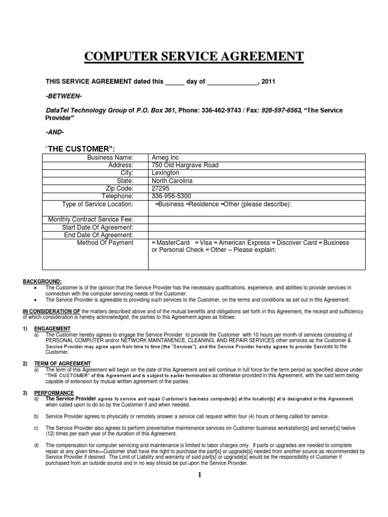 Computer service agreement business law virtue reheart Choice Image