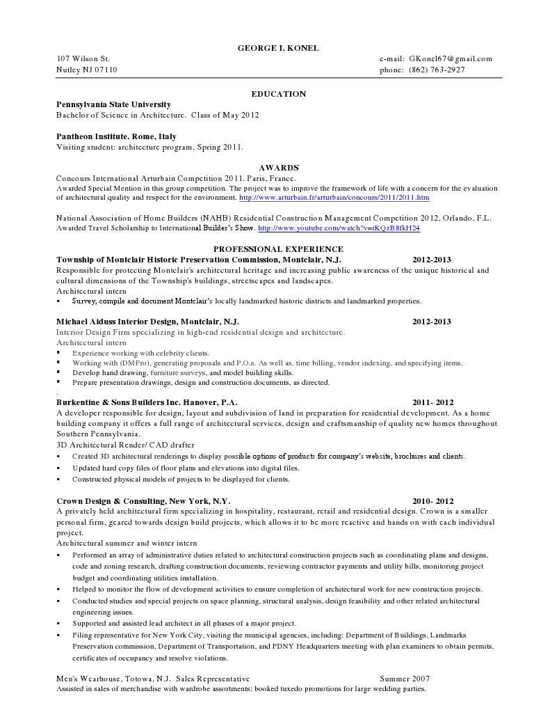 george konel resume architect design