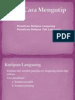 kutipan - tata cara mengutip dalam penelitian / proposal /  makalah