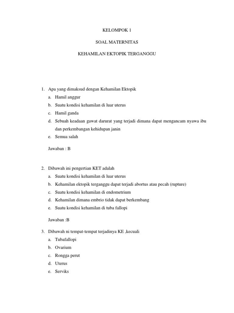 Soal Kehamilan Ektopik Kelas Vi B