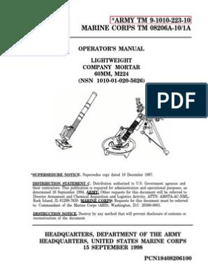 Operator's Manual Lightweight Company Mortar, 60mm, M224 | Artillery