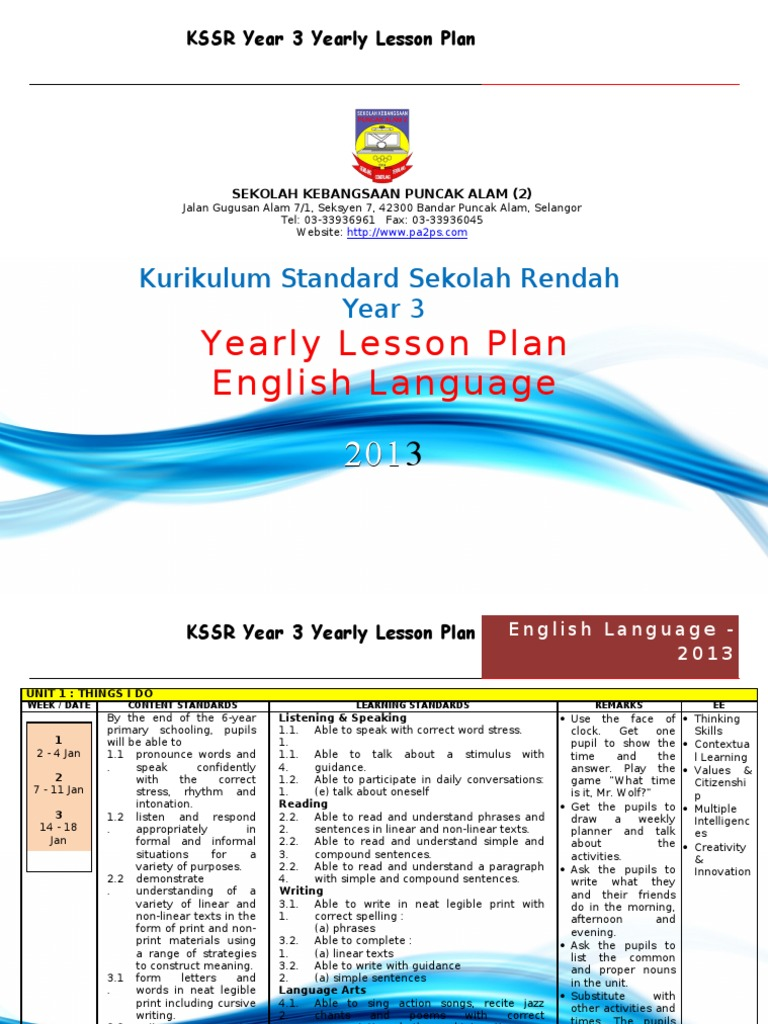 Kssr Year 3 Yearly Lesson Plan Question English Language
