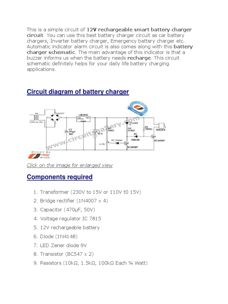 Simple Battery Charger Circuit And Level Indicator With Low 12v Diode Wiring Diagram Recharge Alarm