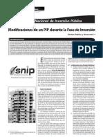 MODIFICACIONES DE UN PIP DURANTE LA FASE DE INVERSIÓN