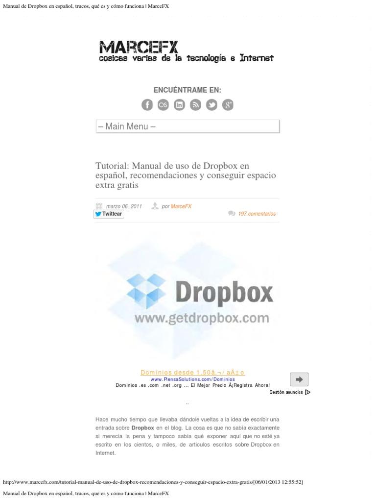 manual de dropbox trucos rh es scribd com manual de dropbox en español trucos qué es y cómo funciona Facebook En Espanol De Mexico