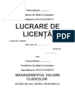 LUCRARE DE LICENTA - MANAGEMENTUL VALORII CLIENTILOR (STUDIU DE CAZ ASTRAL TELECOM S.A.).