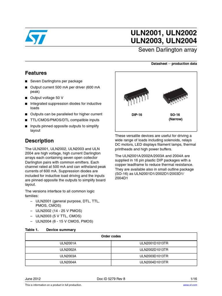 Uln2003 Cmos Electronic Circuits Ic