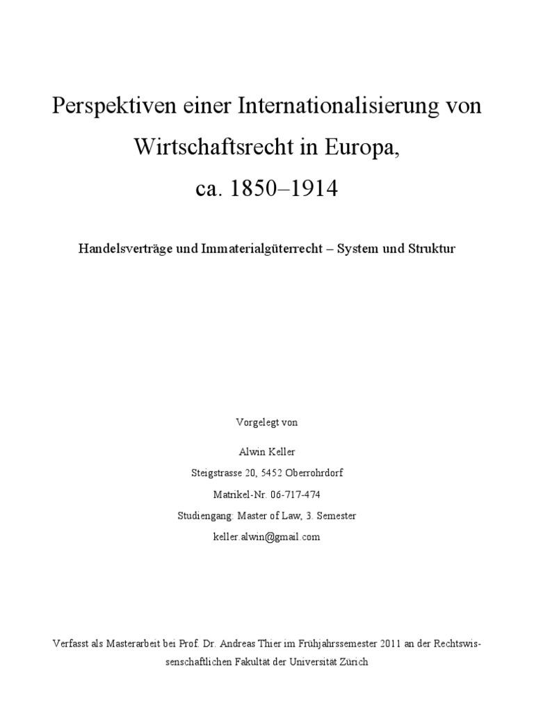 Perspektiven Einer Internationalisierung Von Wirtschaftsrecht In
