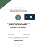 TESIS. Optimizacion Del Ciclo Logistico Mediante Un Modelo de Inventario