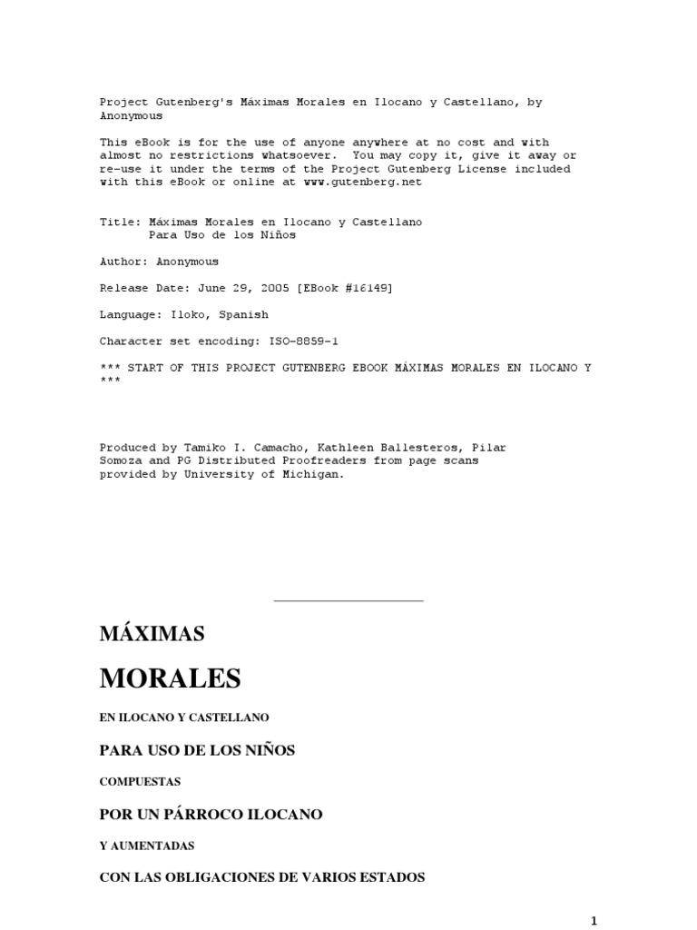Máximas Morales en Ilocano y Castellano Para Uso de los Niños