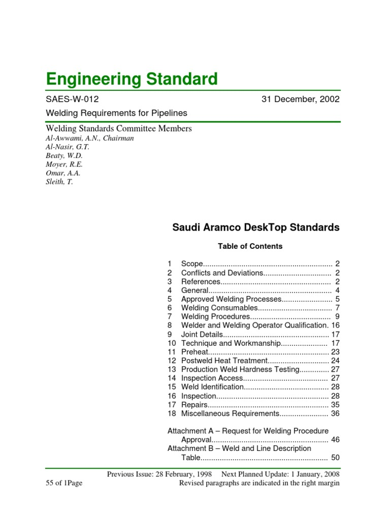 Aramco Reference Standard | Welding | Pipe (Fluid Conveyance)