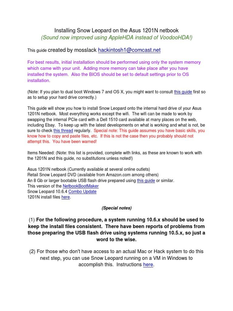 Install Guide: Asus 1201N - (USB-10 6 x) | Usb Flash Drive