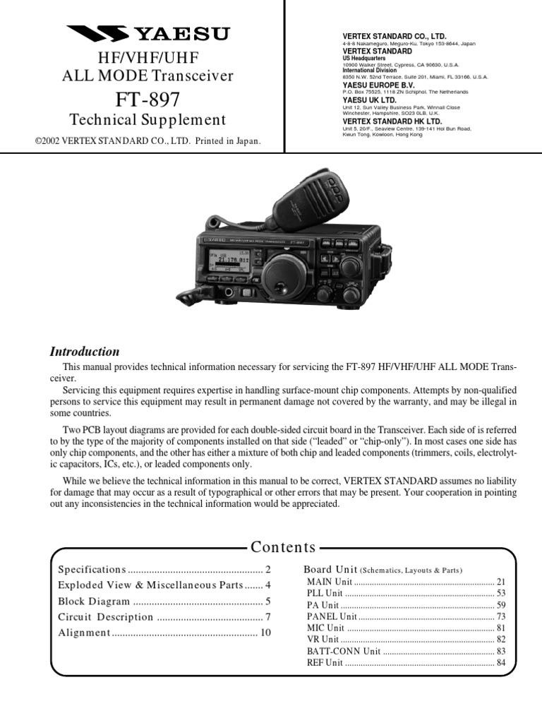 yaesu ft 897 service manual rh scribd com Cobra 4 Pin Wiring Diagram XLR Microphone Cable Wiring Diagram