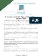 City Bonuses Bounce Back by 50% - CEBR