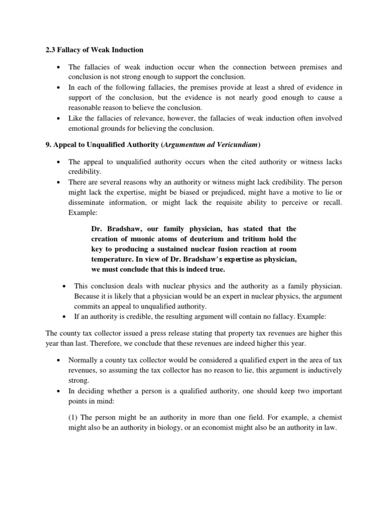 Fallacy of Weak Induction Fallacy – Fallacies Worksheet