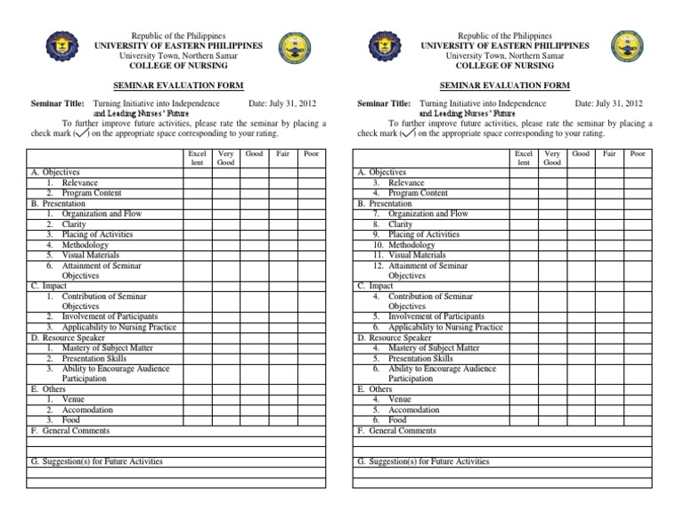 Mock Seminar Evaluation Form – Seminar Evaluation Form
