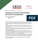 Diário de Guarapuava - Moradores e favelas recebem títulos de propriedade.