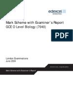 7040 Biology Subject Report Mark Scheme June 2004
