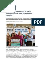 O Globo - Moradores do Cantagalo recebem títulos de propriedade definitiva
