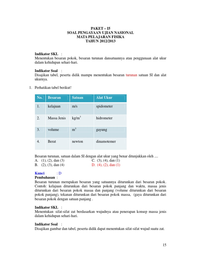 Prediksi Soal Un Ipa Smp Paket 15
