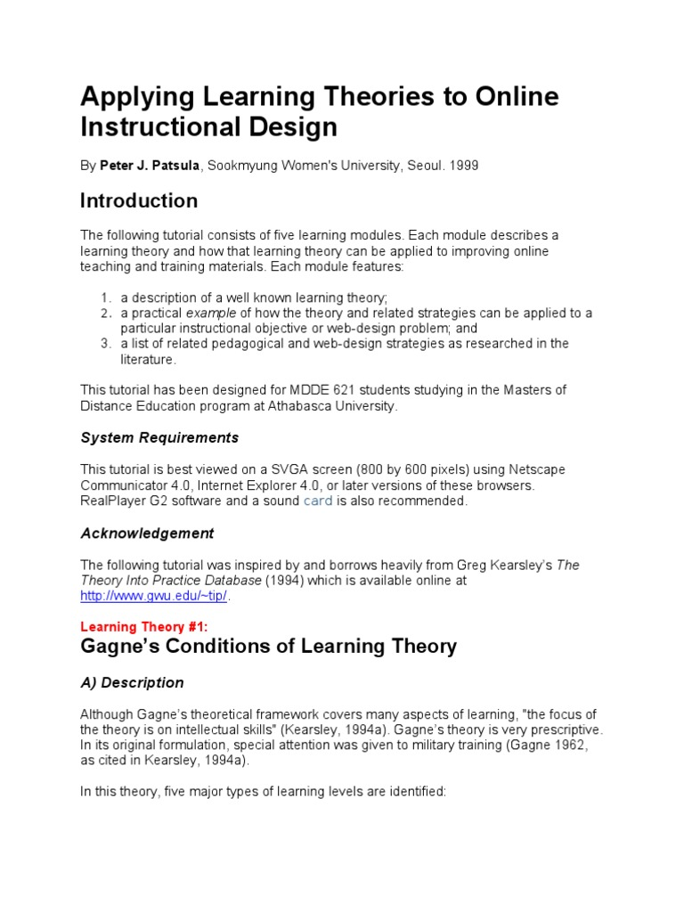 Applying Learning Theories To Online Instructional Design Constructivism Philosophy Of Education Instructional Design
