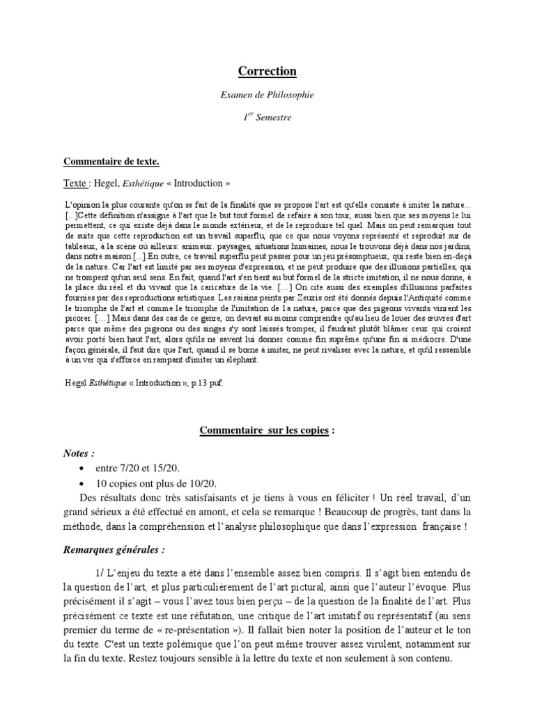 Correction de dissertation en philo