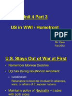 3.  US in WWI (Europe and Homefront)