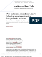 """""""Post-Industrial Journalism""""- A new Columbia report examines the disrupted news universe"""