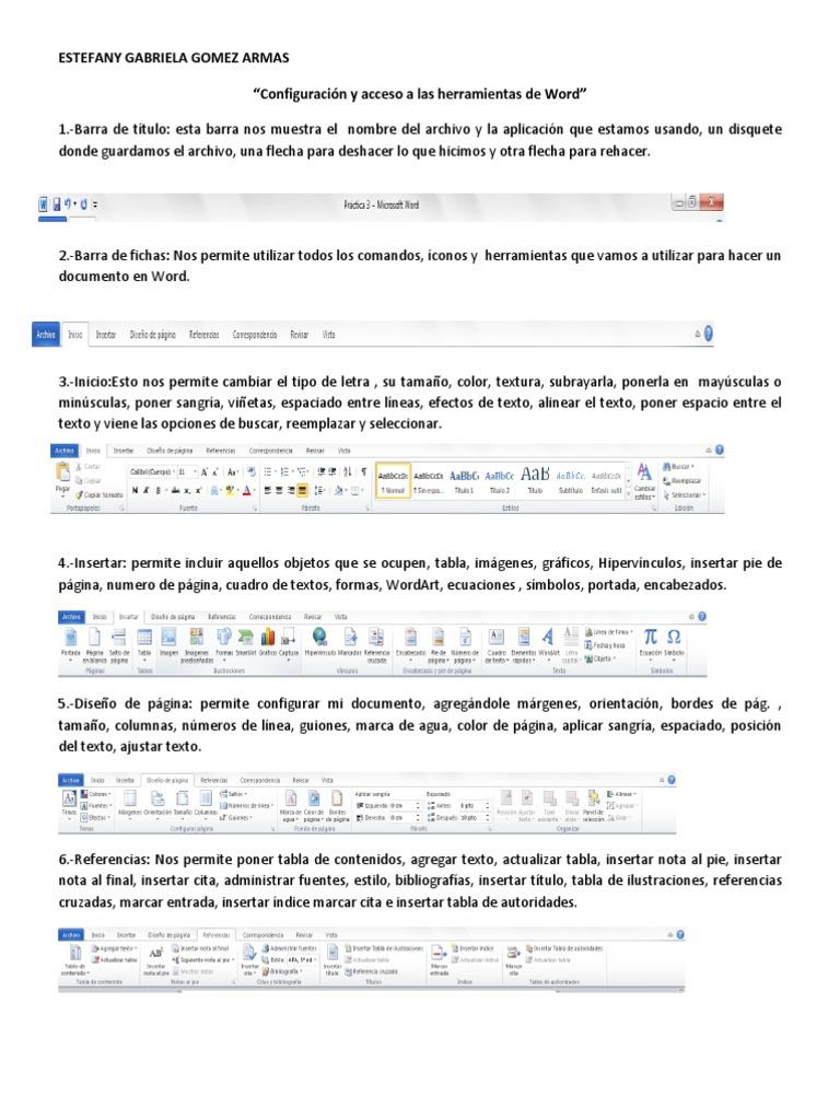 Configuración y acceso a las herramientas de Word