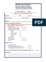 Blank Monthly Church Report Form