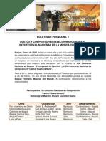 Elegidos Duetos y Composiciones para el XVII Festival Nacional de la Música Colombiana