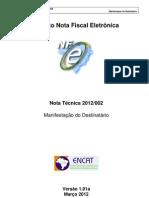 Nota Tecnica NF-e 2012 - Manifestaçao Destinatario
