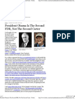 President Obama is the Second FDR, Not the Second Carter