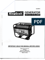 KingCraft Generator #6915 Owner's Manual