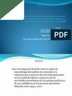 """Presentación de """"Monitoreo electoral de cobertura televisiva de las elecciones federales en México"""