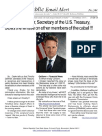 344 - Timothy Geithner, Secretary of the U.S. Treasury, Blows the Whistle on Other Members of the Cabal !!!