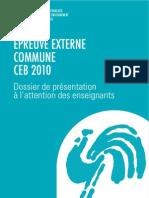 CEB - 2010 - Dossier de présentation à l attention de l enseignant (ressource 7560)