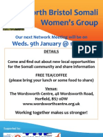 Poster for North Bristol Somali Womens' Group meeting